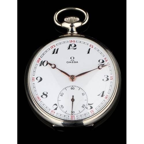 Reloj de Bolsillo Marca Omega, Fabricado en Suiza en los Años 30. Funcionando como Nuevo