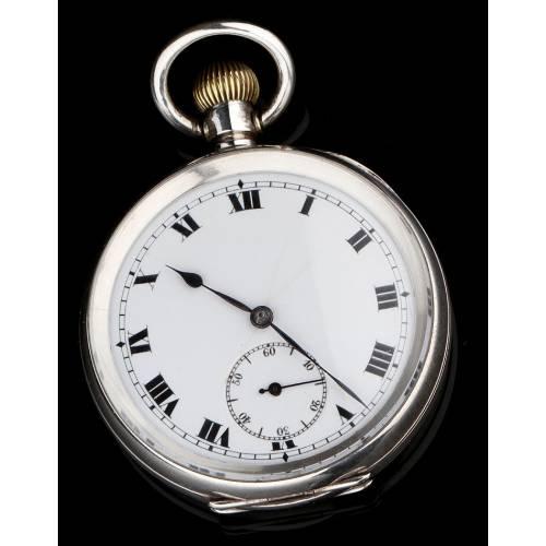 Fantástico Reloj de Bolsillo Suizo de Plata Maciza de Primera Ley. Años 20, Funcionando Perfectamente