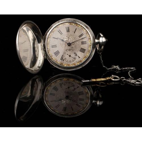 Rarísimo Reloj de Bolsillo de Plata Maciza, Fabricado en Zaragoza Circa 1870. Firmado y Funcionando