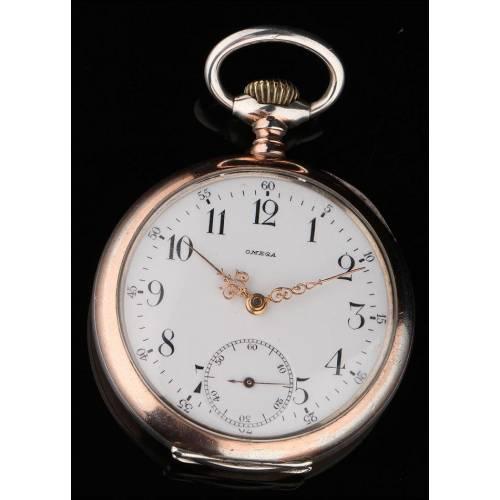 Magnífico Reloj de Bolsillo de Plata Maciza Marca Omega. Año 1920, Funcionando Perfectamente