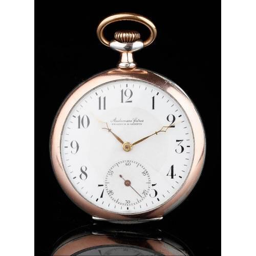 Exclusivo Reloj de Bolsillo Audemars Fréres en Plata Maciza, Fabricado Circa 1915. Contrastado y Funcionando