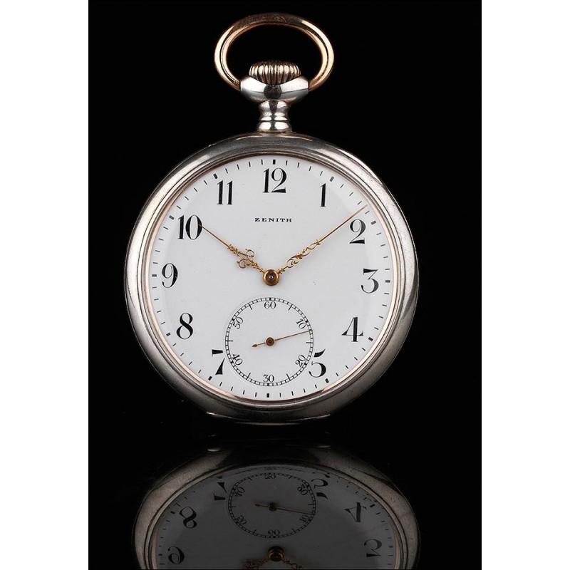 Reloj de Bolsillo de Plata Zenith Fabricado en Suiza en 1915. Muy Bien Conservado y Funcionando