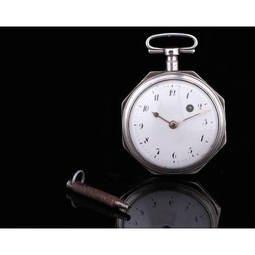 Exclusivo Reloj Catalino de Plata Maciza con Maquinaria Francesa. Siglo XVIII, Funcionando
