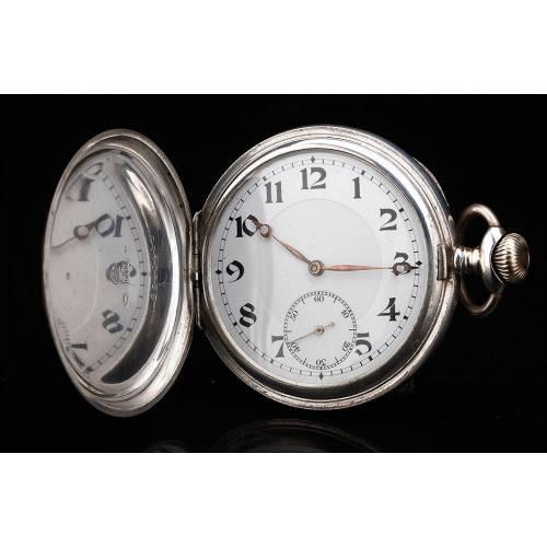 Reloj de Bolsillo de Plata Maciza. Suiza, Principios del Siglo XX. En Buen Estado y Funcionando
