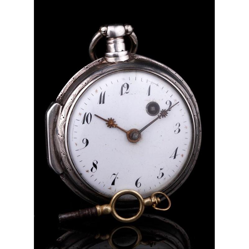 Precioso Reloj Catalino de Plata. Maquinaria Francesa, Circa 1790. Funciona Perfectamente