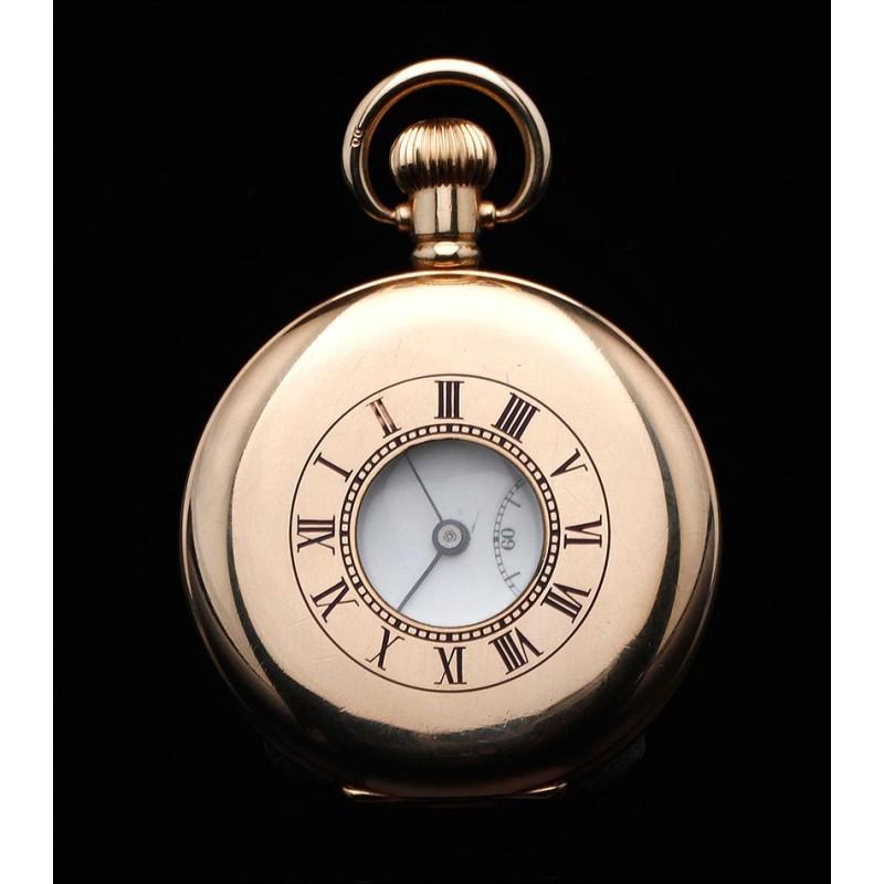 Reloj de Bolsillo Inglés Chapado en Oro Tipo Semi-Cazador, Años 20. Funcionando Perfectamente