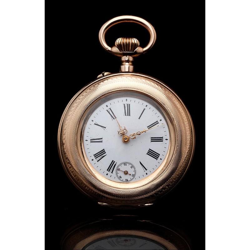 Espectacular Reloj de Bolsillo de Oro Macizo de 14K, Contrastado y Funcionando. Suiza en el año 1890