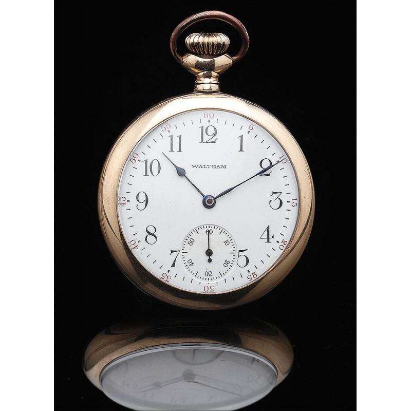 Reloj de Bolsillo  Elgin - Waltham Chapado en Oro con Tapa Trasera a Rosca. Circa 1899. Funcionando