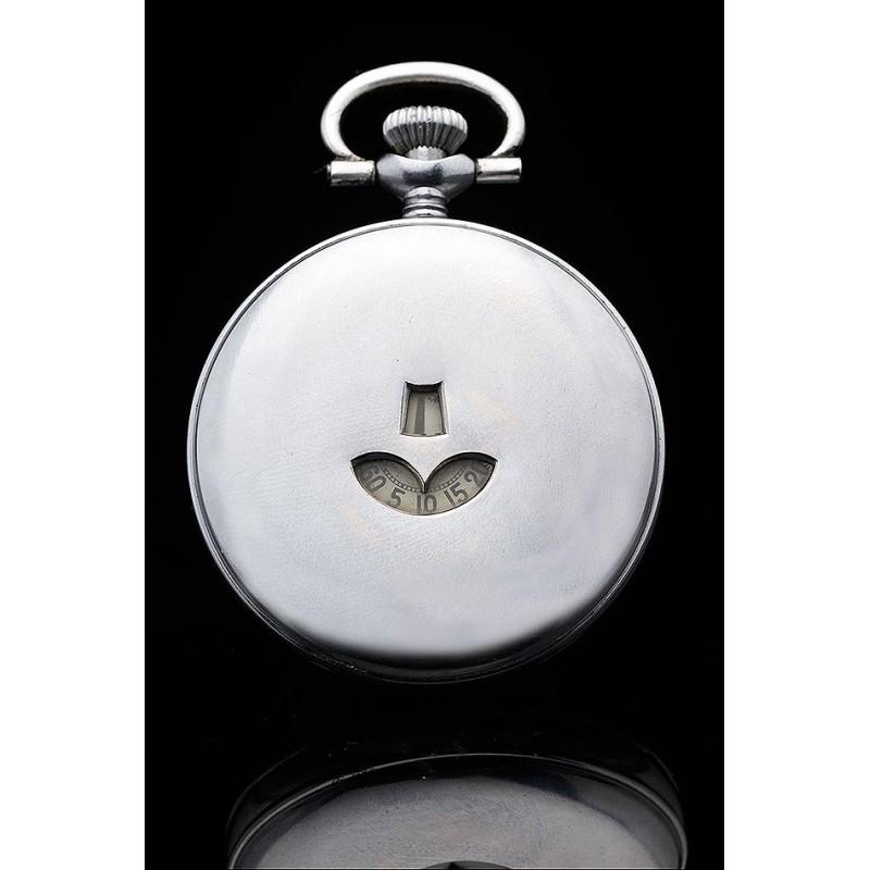 Raro Reloj Digital de Bolsillo Fabricado Circa 1900. Pieza de Colección, en Buen Estado y Funcionando