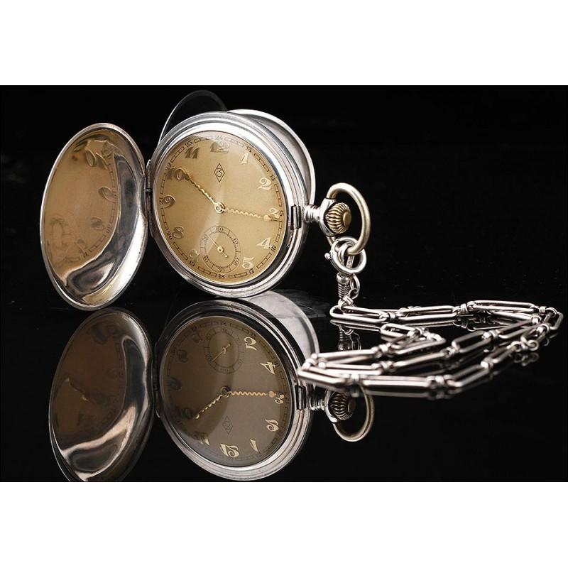 Original Reloj de Bolsillo de Plata Nielada. Suiza, Años 30. Agujas muy Decorativas en Zigzag. Funcionando