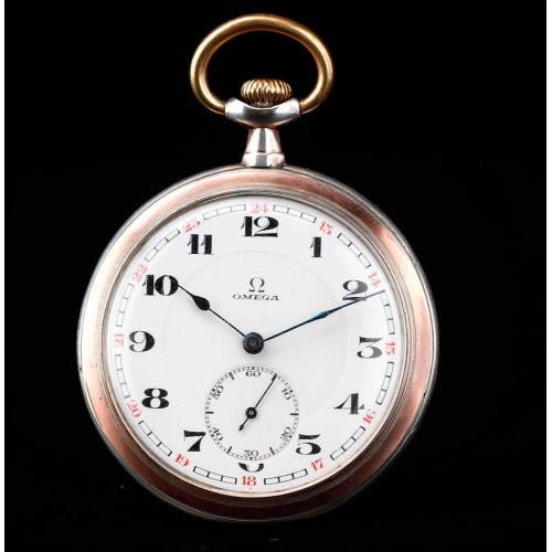 Magnífico Reloj de Bolsillo Omega Realizado en Plata Maciza. Suiza, 1914. Funcionando de Maravilla