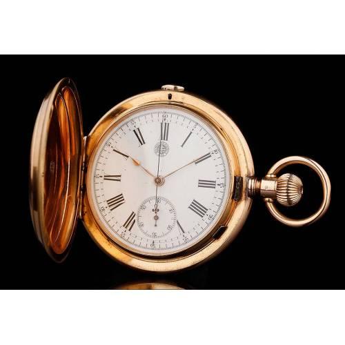 Magnífico Reloj de Bolsillo - Cronómetro Suizo de Oro Macizo de 18 K, Fabricado Circa 1890. Contrastado