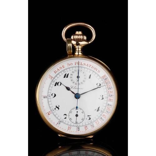 Reloj de Bolsiilo - Cronómetro Para Médico en Oro Macizo de 18K. Suiza, Circa 1910. En Perfecto Estado y Funcionando