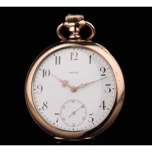 Precioso Reloj de Bolsillo Omega Chapado en Oro. Año 1920. Muy Bien Conservado y Funcionando