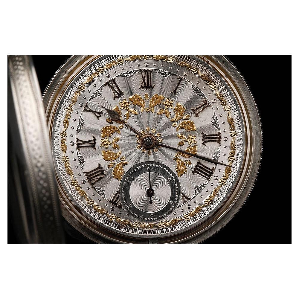 33bae21ef Precioso Reloj de Bolsillo Inglés de Plata y Oro, Fabricado en 1857. Muy  Bien Conservado y Funcionando