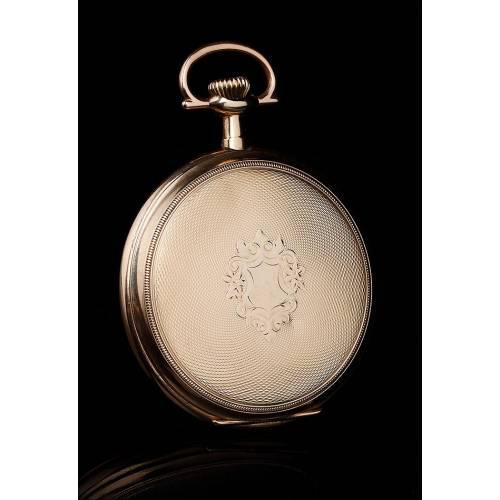 Precioso Reloj de Bolsillo Elgin Chapado en Oro, Funcionando Muy Bien. EEUU, Circa 1920