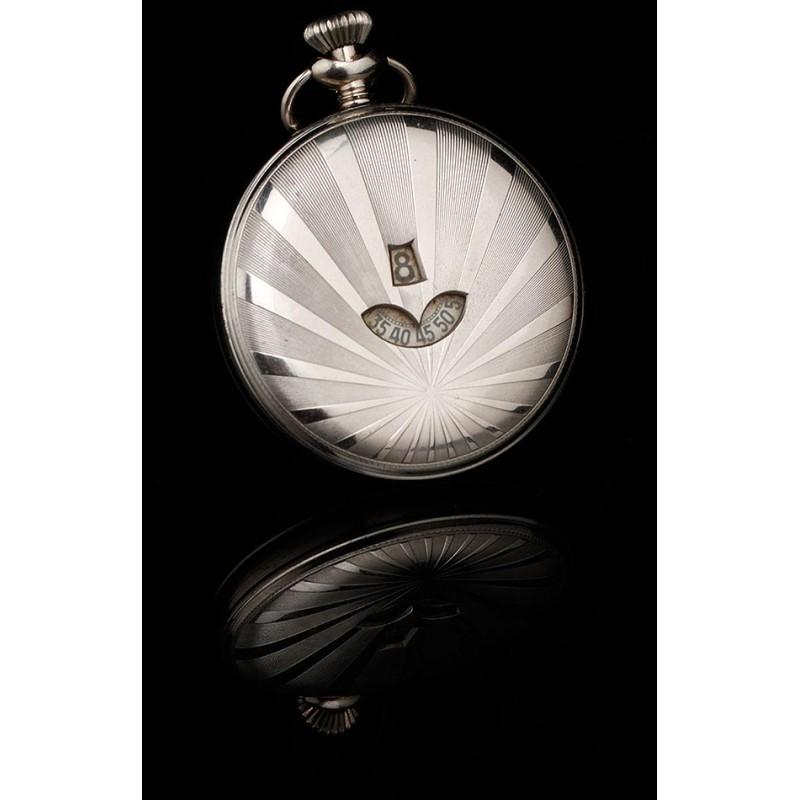 Atractivo Reloj de Bolsillo Digital en Estado de Funcionamiento. Suiza, Circa 1915