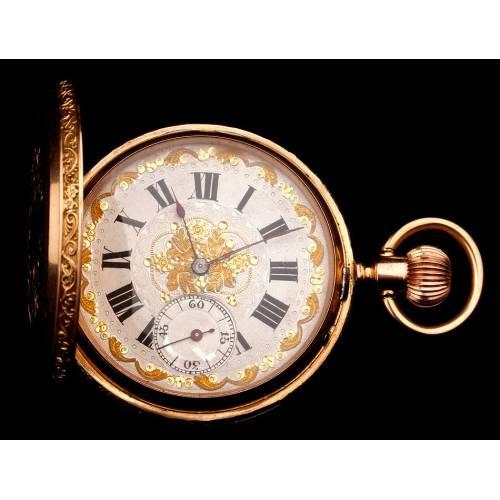 Antiguo Reloj de Bolsillo Ginebrino Jacot & Cie en Oro de 18 K. Suiza, Circa 1900