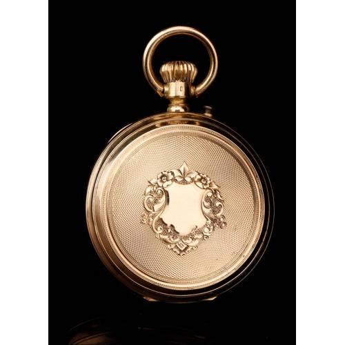 Antiguo Reloj de Bolsillo Paul Boch en Oro Macizo de 18 K. Suiza, Circa 1890