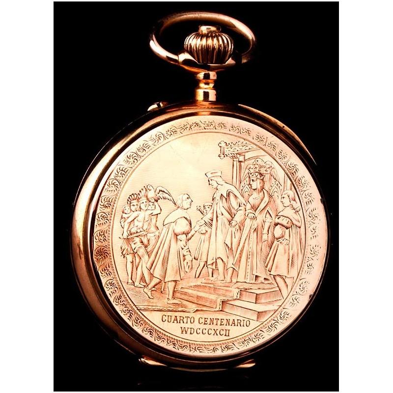 Antiguo Reloj de G. Wahl & Co en Oro 18 K del IV Centenario del Descubrimiento de América. Suiza, 1892