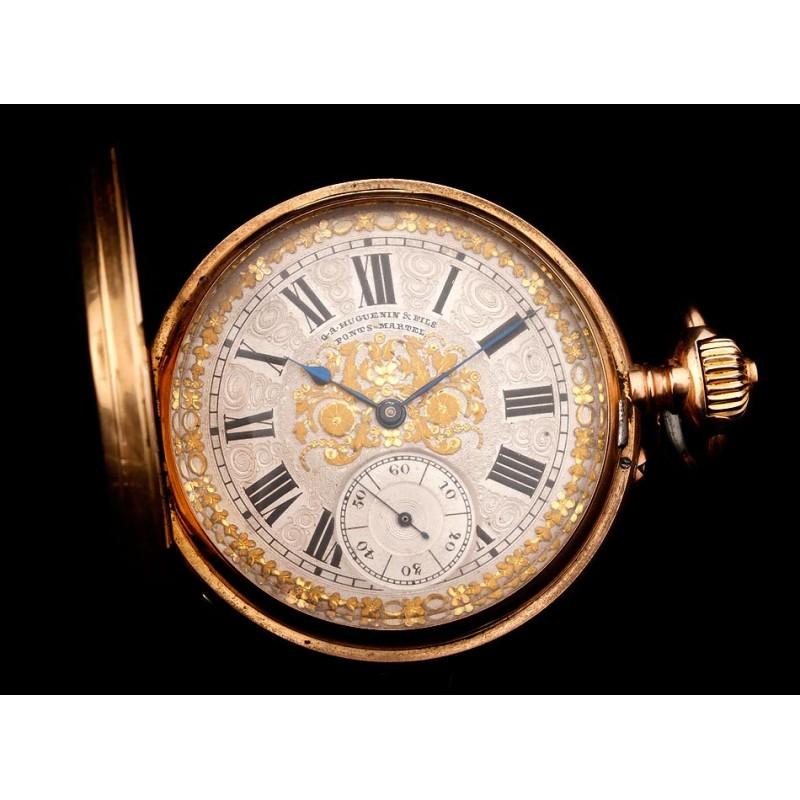 Impresionante Reloj de Bolsillo Ginebrino de Oro 18 K Firmado por Huguenin. Suiza, 1900