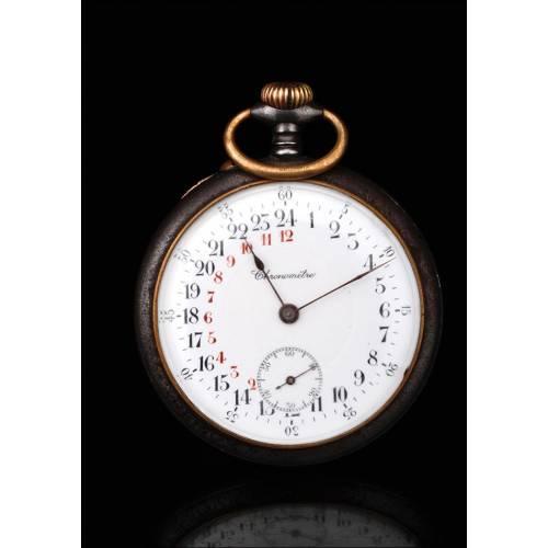 Raro Reloj de Bolsillo de Minero con las 24 Horas. Suiza, Circa 1900