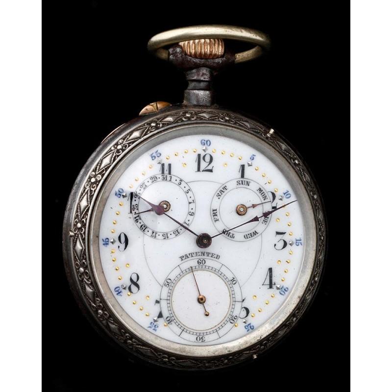 Antiguo Reloj de Bolsillo con Calendario. Suiza, Circa 1880