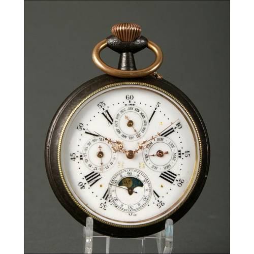 Gran Reloj de Bolsillo Suizo del S. XIX con Calendario Perpetuo y Fases Lunares. Funciona Perfectamente