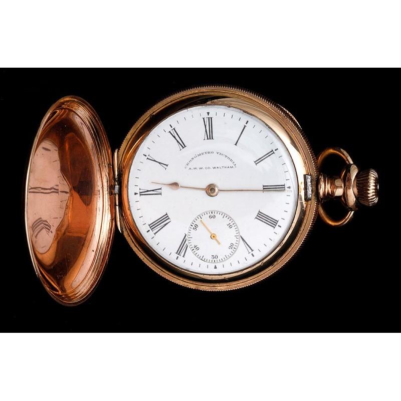 Antiguo Reloj de Bolsillo Waltham de Oro Macizo de 14K. Estados Unidos, 1899