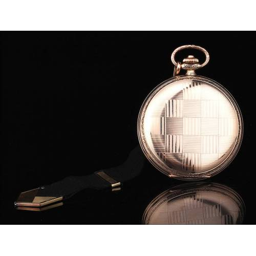 Reloj de Bolsillo Chapado en Oro con Leontina Negra. Suiza, Años 30