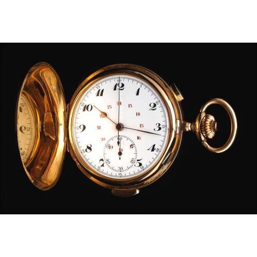 Antiguo Reloj de Bolsillo de Oro Macizo 18K con Sonería y Cronógrafo. Suiza, Circa 1900