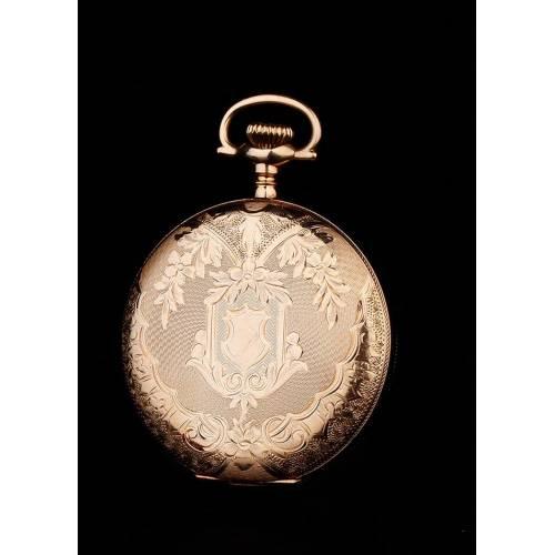 Antiguo Reloj de Bolsillo Elgin Chapado en Oro y en Funcionamiento. EEUU, 1903