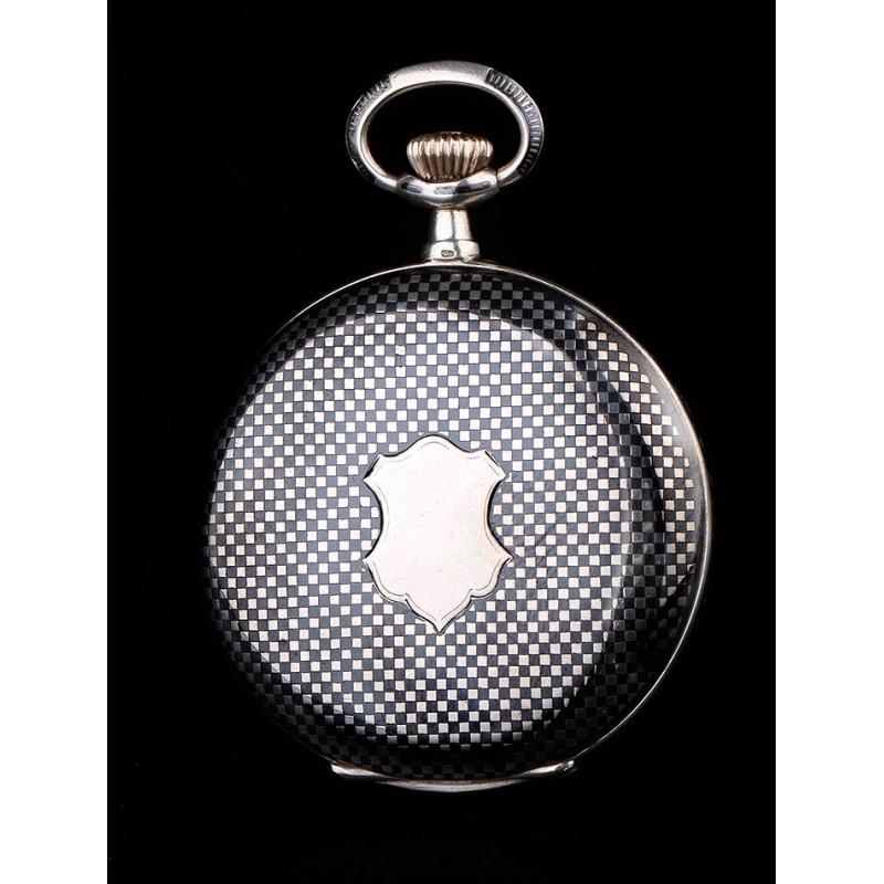 Original Reloj de Bolsillo de Plata Nielada Magníficamente Conservado. Suiza, Circa 1910