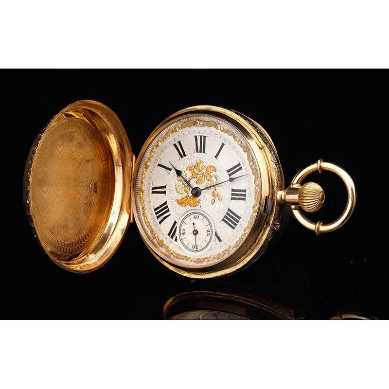 Magnífico Reloj de Bolsillo Antiguo en Oro de 18 K. Jaime Trilla. Suiza, Circa 1890