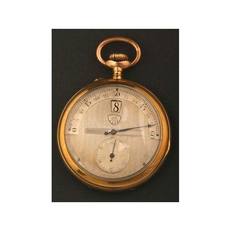 """Reloj de bolsillo suizo Modernista de tipo """"salto"""". 1910."""