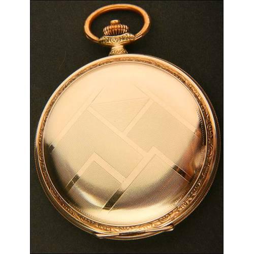 Reloj De bolsillo Art Decó De Época, Chapado En Oro. 1931