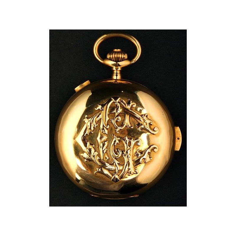 Exclusivo Reloj De Bolsillo Con Cronómetro y Sonería De Cuartos. 18K