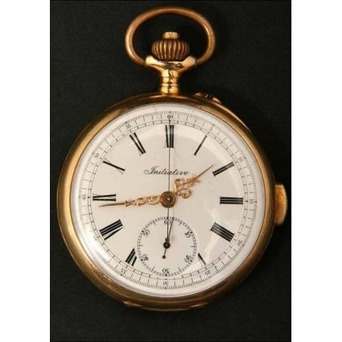 Reloj - cronógrafo con sonería de cuartos en oro mazico de 18K.