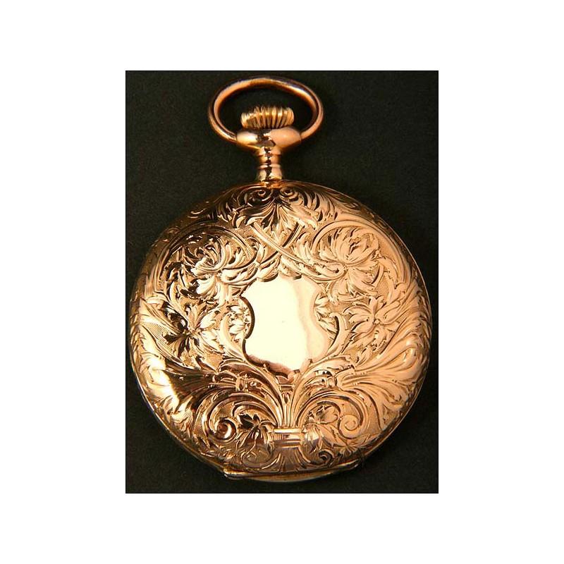 Reloj de bolsillo Longines en oro macizo. Circa 1910