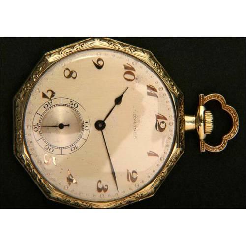 Reloj de bolsillo decagonal Longines en Oro macizo de 14 K
