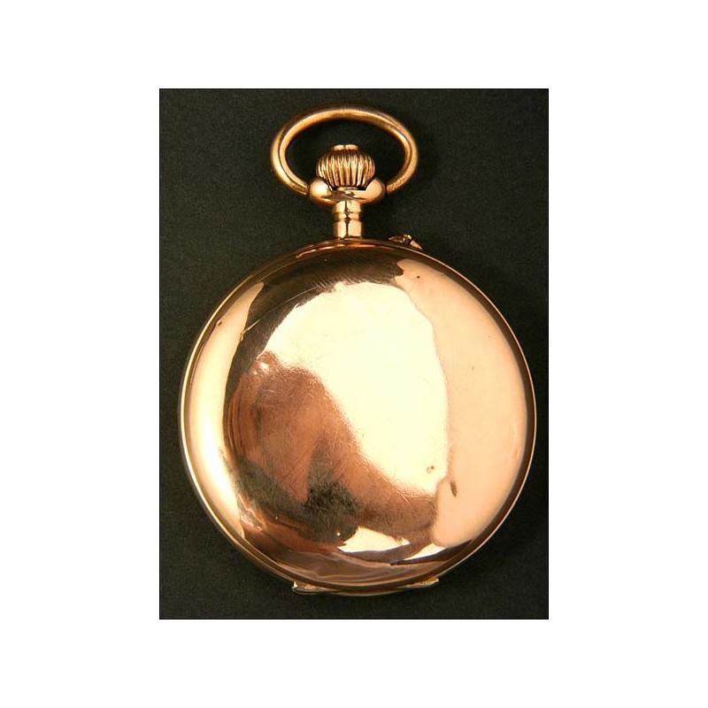 Reloj de bolsillo en oro macizo. Antiguo, circa 1910.