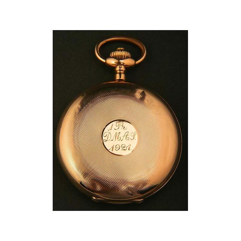 Magnífico reloj de bolsillo en oro macizo. 1920. 50 mm