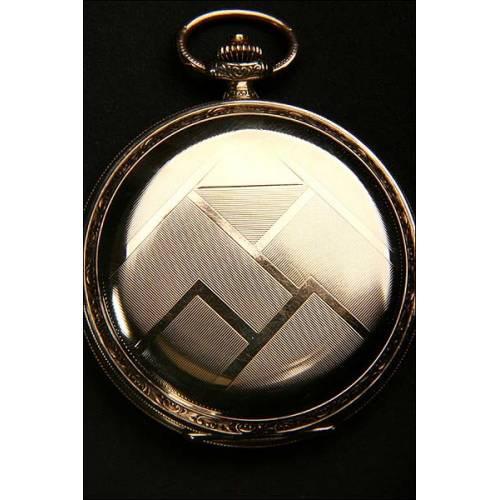 Reloj de bolsillo chapado en oro, estilo Art Decó