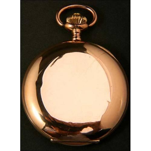 Reloj de bolsillo Longines en oro macizo de 14 kt. 1900