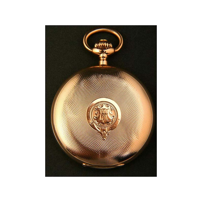 Magnífico reloj de bolsillo en oro macizo. Antiguo, circa 1920.