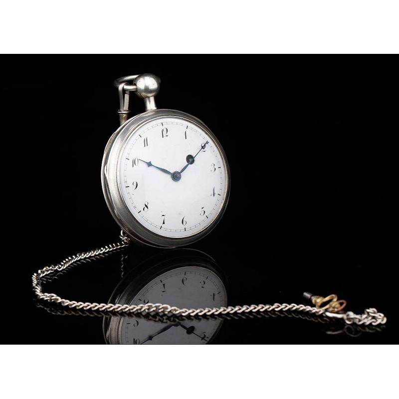 Antiguo Reloj Catalino de Bolsillo Suízo de Plata con Sonería a Cuartos. Circa 1800