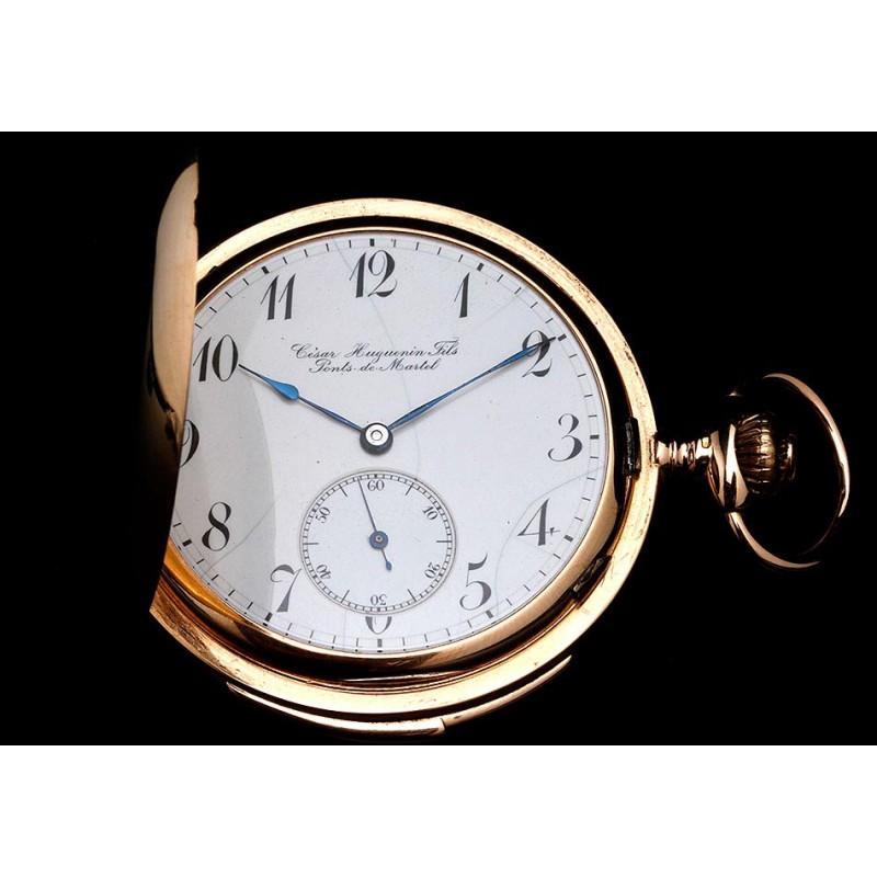 Magnífico Reloj de Bolsillo Antiguo Huguenin Fils de Oro 18K con Sonería a Minutos. Suiza, Circa 1900