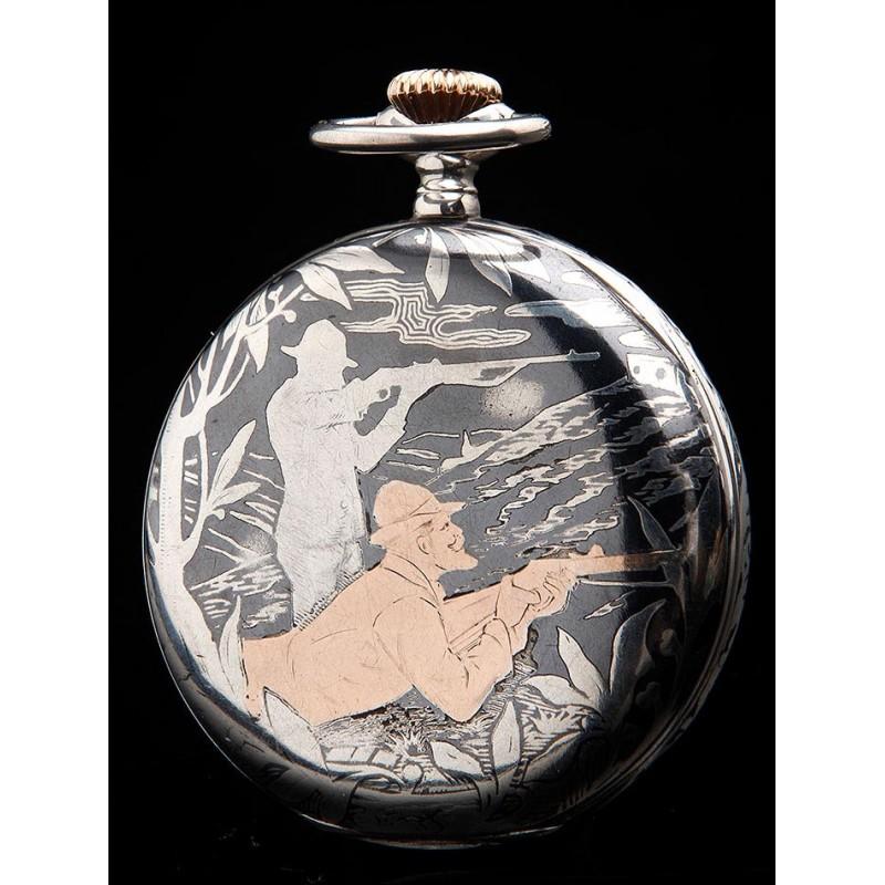 Antiguo Reloj de Bolsillo Baltik, de Plata Nielada y con Decoración. Suiza, 1915