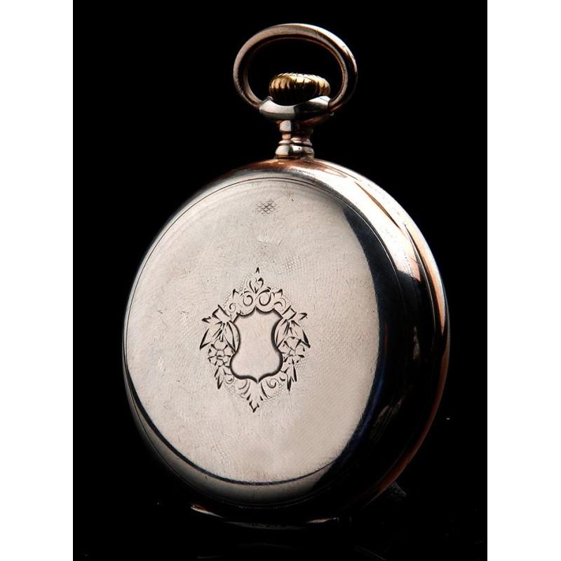Bello Reloj de Bolsillo Longines de Plata Maciza. Funcionando. Suiza, 1920