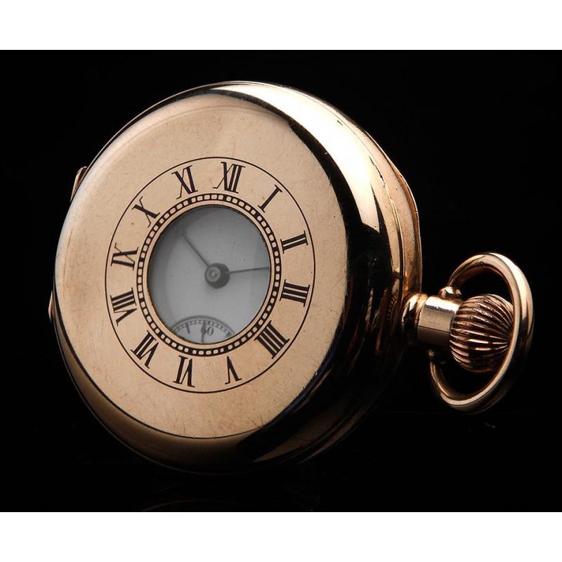 Atractivo Reloj Waltham Chapado en Oro Tipo Semi-Cazador. Inglaterra-USA, 1908